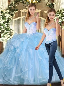 Sweetheart Sleeveless Lace Up Sweet 16 Quinceanera Dress Blue Organza