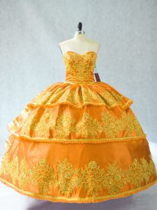 Floor Length Ball Gowns Sleeveless Gold Quinceanera Dresses Lace Up