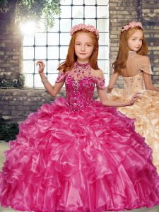 New Style Sleeveless Floor Length Beading and Ruffles Lace Up Little Girls Pageant Gowns with Hot Pink
