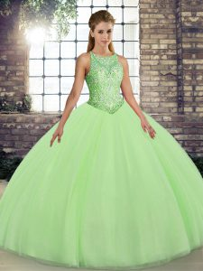 Embroidery Sweet 16 Dress Lace Up Sleeveless Floor Length