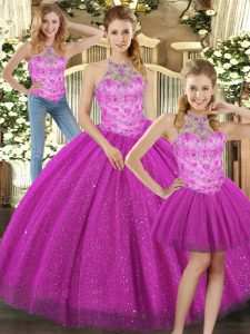 Fuchsia Sleeveless Floor Length Beading Lace Up Quinceanera Gowns