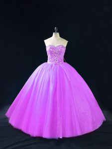 Customized Purple Sweetheart Lace Up Beading 15th Birthday Dress Sleeveless