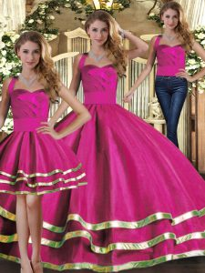 Tulle Halter Top Sleeveless Lace Up Ruffled Layers Sweet 16 Quinceanera Dress in Fuchsia