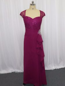Fitting Fuchsia Column/Sheath Chiffon Sweetheart Cap Sleeves Beading and Lace and Appliques Floor Length Zipper Homecoming Dress
