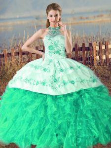 Fitting Turquoise Lace Up Halter Top Embroidery and Ruffles Quinceanera Dresses Organza Sleeveless Court Train