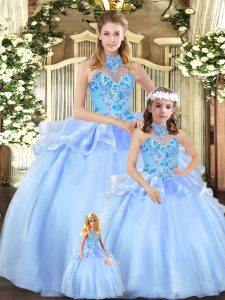 Elegant Embroidery Sweet 16 Dress Blue Lace Up Sleeveless Floor Length