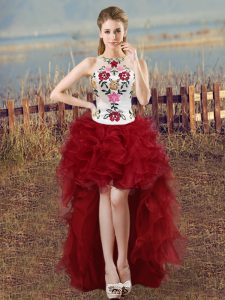 Unique Wine Red Organza Lace Up Scoop Sleeveless High Low Dress for Prom Embroidery