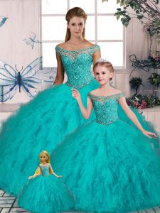 Artistic Aqua Blue Off The Shoulder Lace Up Beading and Ruffles Sweet 16 Dresses Brush Train Sleeveless