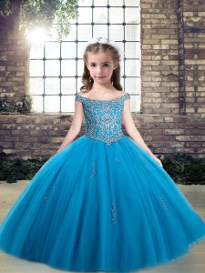 Attractive Baby Blue Pageant Dress Party and Wedding Party with Beading Off The Shoulder Sleeveless Lace Up