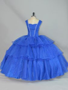Straps Sleeveless Lace Up Sweet 16 Quinceanera Dress Blue Organza
