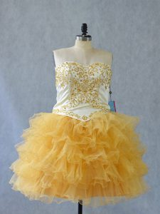 Gorgeous Yellow Sweetheart Neckline Beading and Ruffles Homecoming Dress Sleeveless Lace Up
