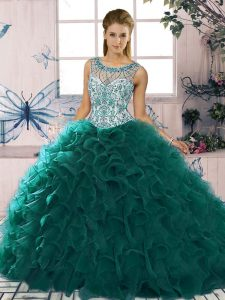 Ball Gowns Vestidos de Quinceanera Peacock Green Scoop Organza Sleeveless Floor Length Lace Up