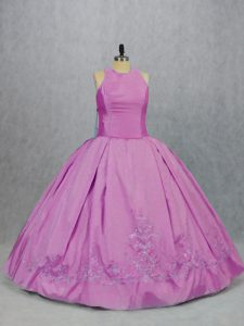 Beauteous Lilac 15th Birthday Dress Sweet 16 and Quinceanera with Embroidery Scoop Sleeveless Lace Up