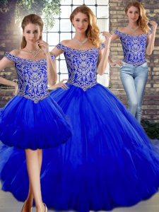 Hot Selling Royal Blue Tulle Lace Up Sweet 16 Quinceanera Dress Sleeveless Floor Length Beading and Ruffles