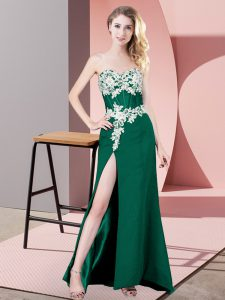 Super Dark Green Zipper Evening Dress Lace and Appliques Sleeveless Floor Length