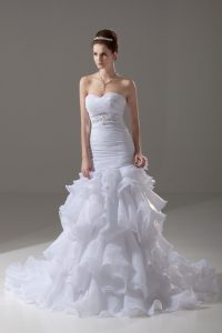 Sleeveless Brush Train Beading and Ruffled Layers Lace Up Wedding Gown