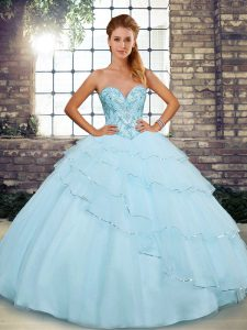 Light Blue Sweet 16 Quinceanera Dress Sweetheart Sleeveless Brush Train Lace Up