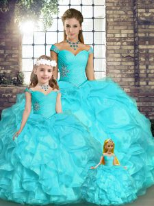 Sleeveless Organza Floor Length Lace Up Vestidos de Quinceanera in Aqua Blue with Beading and Ruffles