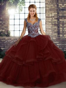 Straps Sleeveless Tulle Sweet 16 Dresses Beading and Ruffles Lace Up