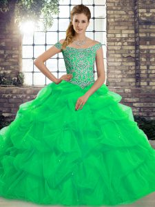 Enchanting Green Off The Shoulder Lace Up Beading and Pick Ups Vestidos de Quinceanera Brush Train Sleeveless