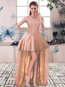 Low Price Peach A-line Beading Prom Dress Lace Up Tulle Sleeveless High Low