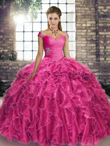 Glorious Fuchsia Sleeveless Beading and Ruffles Lace Up Quinceanera Dresses