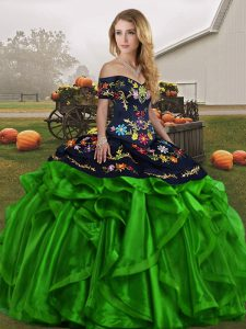 Chic Green Organza Lace Up Off The Shoulder Sleeveless Floor Length Sweet 16 Dress Embroidery and Ruffles