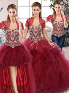 Floor Length Burgundy Quinceanera Gown Tulle Sleeveless Beading and Ruffles