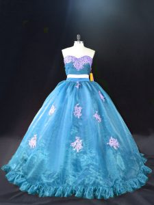 Luxury Aqua Blue Ball Gowns Organza Sweetheart Sleeveless Appliques Zipper Vestidos de Quinceanera Brush Train