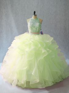 New Arrival Halter Top Sleeveless Brush Train Backless 15th Birthday Dress Yellow Green Organza