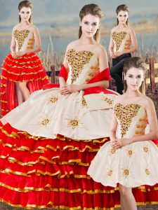 Dynamic Floor Length Lace Up Quinceanera Gowns White And Red for Sweet 16 and Quinceanera with Beading and Ruffled Layers