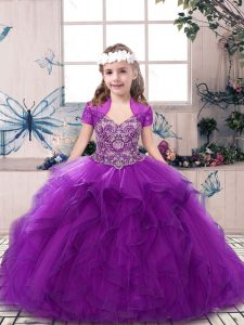 Purple Sleeveless Beading and Ruffles Floor Length Pageant Dress for Teens