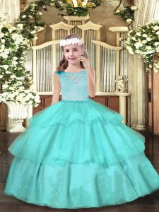 High End Aqua Blue Ball Gowns Scoop Sleeveless Organza Floor Length Zipper Beading Evening Gowns