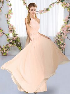 Designer Empire Dama Dress Peach One Shoulder Chiffon Sleeveless Floor Length Lace Up
