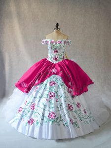 Floor Length Pink And White Ball Gown Prom Dress Off The Shoulder Sleeveless Lace Up