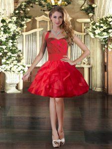 Perfect Red Sleeveless Ruffles Mini Length Prom Dress
