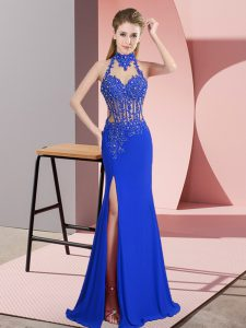 Blue Backless Prom Gown Lace and Appliques Sleeveless Floor Length