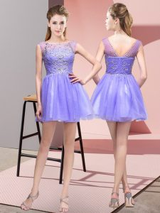 Wonderful Lavender Bateau Zipper Beading Homecoming Dress Sleeveless