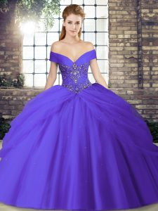 Purple Ball Gowns Tulle Off The Shoulder Sleeveless Beading and Pick Ups Lace Up Ball Gown Prom Dress Brush Train