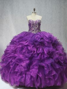 Inexpensive Lace Up 15 Quinceanera Dress Purple for Sweet 16 and Quinceanera with Beading and Ruffles Brush Train