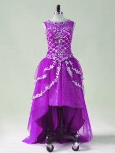 Purple Zipper Scoop Beading and Appliques Prom Dress Tulle Sleeveless