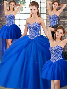 Unique Royal Blue Lace Up Sweetheart Beading and Pick Ups Quinceanera Gown Tulle Sleeveless Brush Train