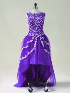 Purple Scoop Zipper Beading and Appliques Prom Party Dress Sleeveless