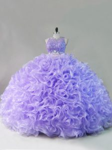 Customized Lavender Ball Gown Prom Dress Sweet 16 and Quinceanera with Beading Scoop Sleeveless Lace Up