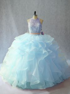 Light Blue Two Pieces Scoop Sleeveless Organza Brush Train Backless Beading and Ruffles Quinceanera Gown