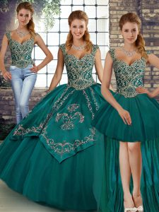 Stylish Teal Lace Up Straps Beading and Embroidery Quince Ball Gowns Tulle Sleeveless