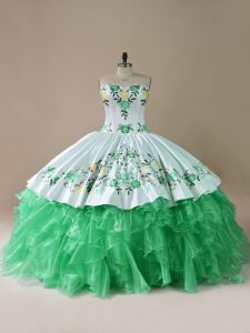 Green Lace Up Sweetheart Embroidery Sweet 16 Quinceanera Dress Organza Sleeveless Brush Train