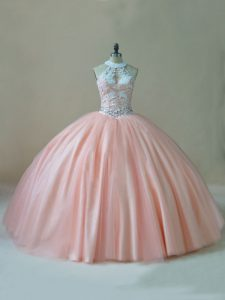 Modest Peach Tulle Lace Up Ball Gown Prom Dress Sleeveless Floor Length Beading and Lace
