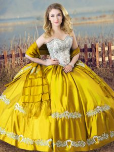 Gold Quinceanera Gowns Sweet 16 and Quinceanera with Beading and Embroidery Sweetheart Sleeveless Lace Up
