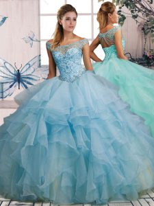 Light Blue Lace Up Off The Shoulder Beading and Ruffles 15 Quinceanera Dress Organza Sleeveless